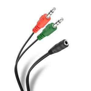 Cable auxiliar 2 plug 3,5 mm a jack 3,5 mm TRRS de 17 cm