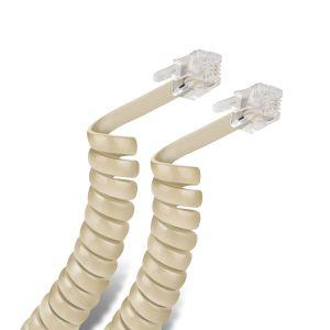 Cable espiral telefónico plug a plug, para auricular, de 2,1 m, color marfil