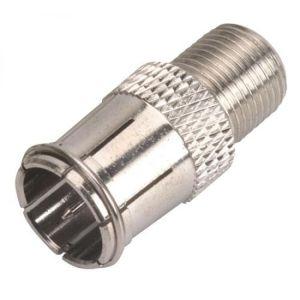 Adaptador con conector hembra de rosca tipo F a macho de presión tipo F