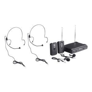 Sistema de 2 micrófonos inalambricos VHF, de solapa y diadema