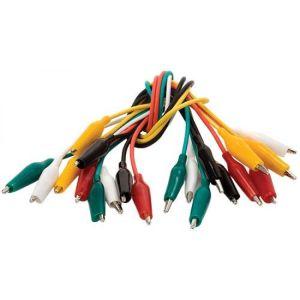 Juego de 10 cables de 26 cm con lagartos chicos