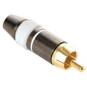 Plug RCA metálico reforzado, blanco