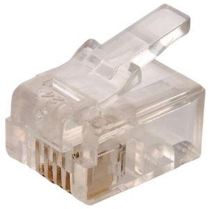 Plug telefónico modular RJ11 de 4 toma corrientes para cable redondo
