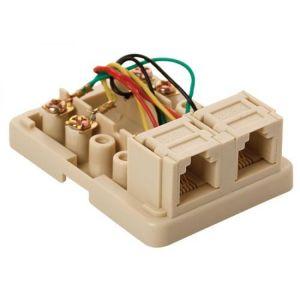 Caja Plastica telefónica con 2 jack RJ11 de 4 toma corrientes