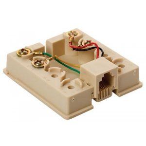 Caja Plastica telefónica con jack RJ11 de 4 toma corrientes