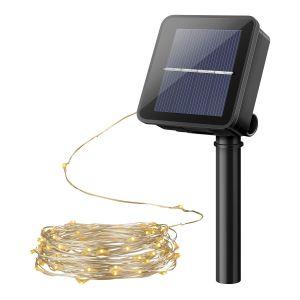 Serie LED decorativa con panel solar y batería recargable, para exterior