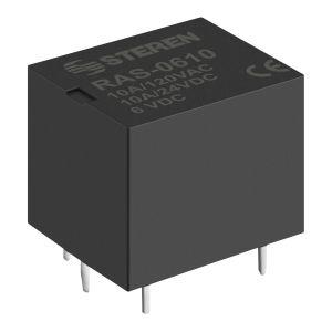 Relevador compacto de 1 polo, 2 tiros (SPDT) y bobina de 6 Vcc