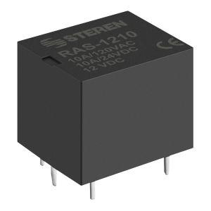 Relevador compacto de 1 polo, 2 tiros (SPDT) y bobina de 12 Vcc, 10 A